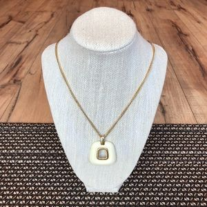 Vintage Crown Trifari Gold and Lucite Necklace